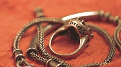 Silver chain and finger ring Stock Footage