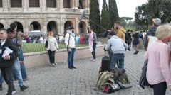 Video recording of the travel show near the Coliseum in Rome Stock Footage
