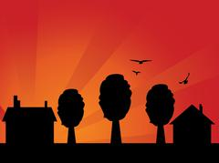 Sunset village - stock illustration