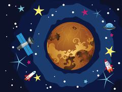Venus in the Space - stock illustration