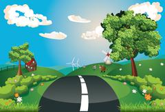 Way Through Nature - stock illustration