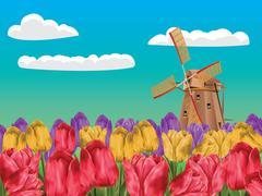 Windmill and Tulips - stock illustration