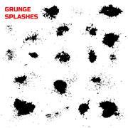 Grunge splashes set. Stock Illustration