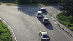 Crossroads Road. View from above. Movement of cars and bicycles. Stock Footage