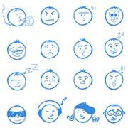 Hand drawn emoticons smileys each with a different facial expression and emotion - stock illustration