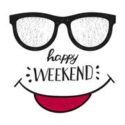 Happy weekend. Positive handwritten design cards, t-shirt, posters, social media Piirros