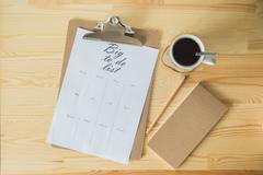To do list with a cup of coffee Stock Photos