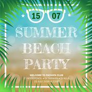 Hello Summer Beach Party Flyer decorated with palm branches,  beach and sea - stock illustration