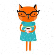 Orange Cat in a blue dress with yellow belt and glasses, holding a cup of coffe. Stock Illustration