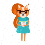 Orange squirrel in blue dress, yellow belt and glasses, holding a cup of coffe. Stock Illustration