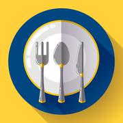 Dishes - Plate knife and fork icon. Flat vector design with long shadow Stock Illustration