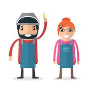 Jeweller masters. Man and woman. Stock Illustration