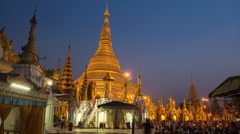 Shwedagon Pagoda Timelapse Day-Night Stock Footage