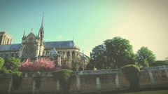 Notre Dame cathedral in the morning - stock footage