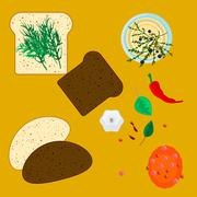 Wheat and rye slices of bread with spice herbs - stock illustration