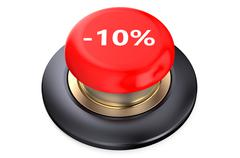10 percent discount Red button Stock Illustration