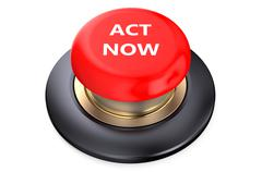 """""""Act now"""" Red push-button Stock Illustration"""