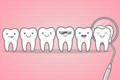 Teeth check at the dentist. Piirros