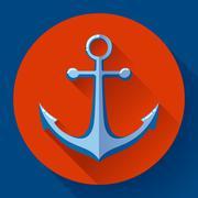 Anchor text icon, vector illustration. Flat design style. - stock illustration