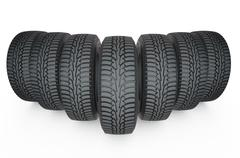 Group of automotive tires Stock Illustration