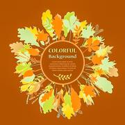 Autumnal round frame. Wreath of autumn leaves Stock Illustration