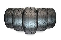 Group of automotive tyres Stock Illustration