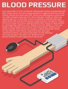 Blood pressure monitor on hand. - stock illustration
