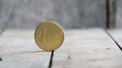 One euro coin, finance or business concept Stock Footage