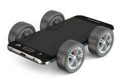 Smartphone on wheels Stock Illustration