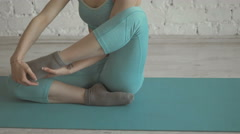 Young Ballet Dancer Stretchs Her Leg And Showing Techniques On Training Stock Footage