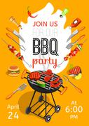BBQ Party Announcement Flat Poster - stock illustration
