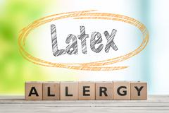 Latex allergy sign with text in a sketch circle Stock Photos