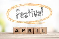 Festival in april launch sign Stock Photos