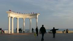 Crimea. Alushta - 2015: 4k Landmark on the waterfront Stock Footage