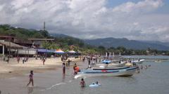 Tourists Swim At The Beach In Trujillo Honduras Stock Footage