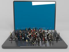 A lot of 3d characters on a laptop inside a white stage Stock Illustration