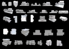part one from the Set of isolated white 3d detailed buildings with different  - stock illustration