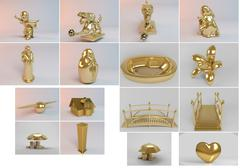 Big 3d collection of golden objects rendered with high quality and details wh Stock Illustration