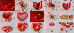 Candles and hearts for lovers and valentine day collection with many objects  Stock Illustration