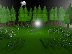Low poly 3D night landscape scene - stock illustration