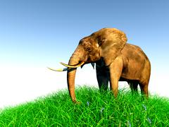 3d elephant in nature - stock illustration