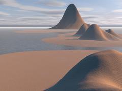 Fantasy desert landscape - stock illustration