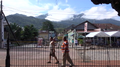 Men Walking In The Town Square Of Trujillo Honduras 4K UHD - stock footage