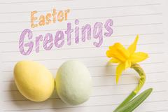 Easter greetings with easter eggs Stock Photos