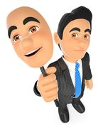 3D Businessman sad with a cheerful mask - stock illustration