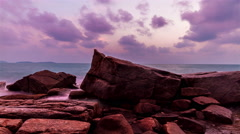 Sunrise over sea and cliffs clouds in the background on Koh Samui, Thailand - stock footage