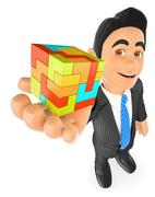 3D Businessman with a cube. Create concept - stock illustration