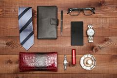Set of classic man and woman accessories. Flat lay. Stock Photos
