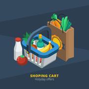 Isometric Supermarket Icon - stock illustration