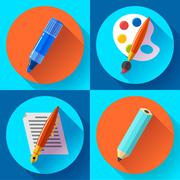 Painting and Drawing Icons set - stock illustration